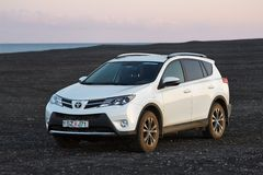 Toyota RAV4 on terrain. VIK, ICELAND - MAY 08, 2015. Toyota RAV4 four wheel drive SUV being used on Iceland's unpaved roads and terrain royalty free stock image