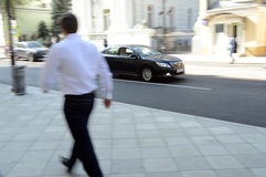 Toyota rides on a Moscow street on speed Royalty Free Stock Photo