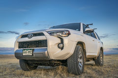 Toyota 4Runner SUV in Pawnee National Grassland. PAWNEE NATIONAL GRASSLAND, CO, USA - MARCH 11, 2017: Toyota 4Runner SUV 2016 Trail edition on Grassland Road 640 Royalty Free Stock Photos