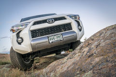 Toyota 4Runner SUV on a rocky trail Royalty Free Stock Image