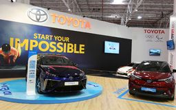 Toyota stand at SIAB 2018, Romexpo, Bucharest, Romania. The international automobile saloon in Bucharest. Toyota Mirai is the world`s first hydrogen Royalty Free Stock Images