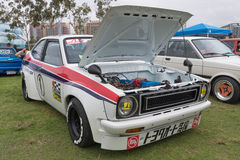 Toyota Starlet 1974 on display. Long Beach, USA - May 6 2017: Toyota Starlet 1974 on display during the 22nd annual All Toyotafest Royalty Free Stock Photo