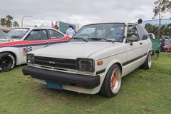 Toyota Starlet 1982 on display. Long Beach, USA - May 6 2017: Toyota Starlet 1982 on display during the 22nd annual All Toyotafest Stock Image