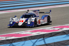 Toyota TS040 hybrid on track. LE CASTELET, FRANCE, March 28, 2015 : Toyota TS040 hybrid on track during the training sessions for World Endurance Car Royalty Free Stock Photo