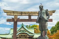 Toyotomi Hideyoshi. A preeminent daimyo, warrior, general and politician of the Sengoku period, his statue situated in front of Hokoku shrine Royalty Free Stock Images