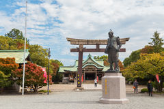 Toyotomi Hideyoshi. A preeminent daimyo, warrior, general and politician of the Sengoku period, his statue situated in front of Hokoku shrine Stock Photography