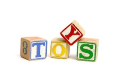 Toys. Word 'toys' printed with blocks Royalty Free Stock Image