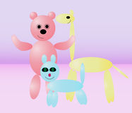 Toys. Three figures of animals from balloons of different colors Royalty Free Stock Photography