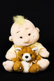 Toys. Two soft toys made from bezopastnykh for the health of children on a black background Stock Images