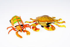 Toys. Crab and shrimp on a white background with an isolation Royalty Free Stock Images