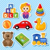 Toys. A set of children's toys. There is a  image Stock Images