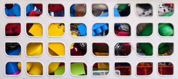 Toys. Colorful toys in a box stock photography