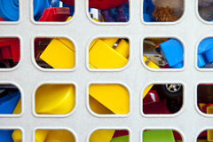Toys. Colorful toys in a box - closeup royalty free stock photos