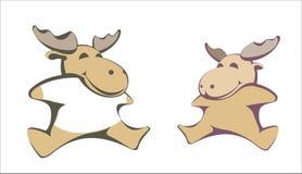 Toys. Two stuffed plush toy moose Vector illustration stock illustration
