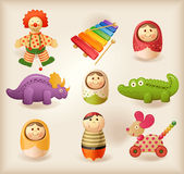 Toys. Nine different toys - isolated objects Royalty Free Stock Photos