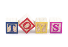 Toys. Alphabet blocks spelling the word toys with clipping path Royalty Free Stock Photography
