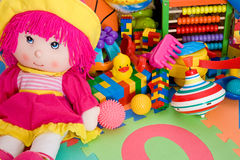 Toys. Huge pile of various colorful children's toys Stock Photo