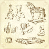 Toys. Antique toys-original hand drawn collection Royalty Free Stock Image