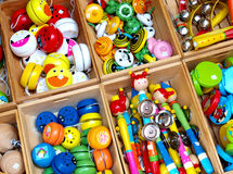 Toys. Colorful toys made of wood and brightly painted, Italy stock images