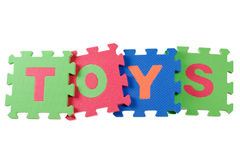 Toys. Alphabet blocks forming the word TOYS isolated on white background Royalty Free Stock Photos