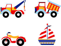 Toys. Vector illustration of toys, excavator, dump truck, motorcycle and boat Royalty Free Stock Images