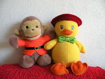 Toys. For kids, duck and monkey Royalty Free Stock Images