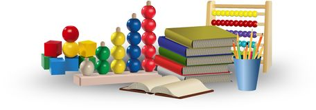 Toys, abacus, books and pencils. Educational tools and concept Stock Photos