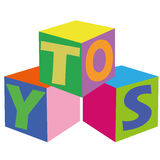 Toys. Abstract cubes with letters making a word toys Royalty Free Stock Image