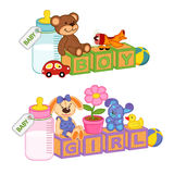 Toys and accessories for baby with blocks Stock Image