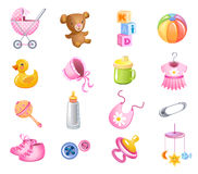 Toys and accessories for baby girl Stock Images