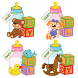 Toys and accessories for baby girls and boys Royalty Free Stock Photography