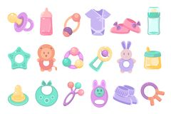 Toys and accessories for baby sett, newborn infant care, feeding and clothing vector Illustrations on a white background. Toys and accessories for baby sett royalty free illustration