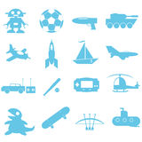 Toys and accessories for boy icon. On white background Royalty Free Stock Image