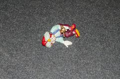Toys aladdin on the ground. At a shopping centre royalty free stock image
