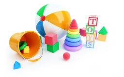 Toys alphabet cube, beach ball, pyramid Royalty Free Stock Photo