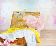 Free Toys And Towels In The Wicker Basket Royalty Free Stock Image - 50756006