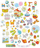 Toys, animals and books. Set of funny vector toys, pets, gifts and other objects on a white background Royalty Free Stock Images