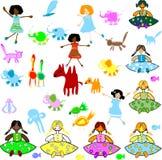 Toys, animals, kids stock illustration