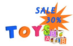 Toys as lettering with ABC cubes and cubes with Emoticon and Sal. E 30%. 3d illustration Royalty Free Stock Photo