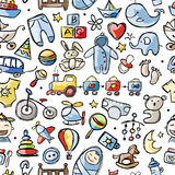 Toys for baby boy, seamless pattern for your Royalty Free Stock Photography