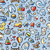 Toys for baby boy, seamless pattern for your Royalty Free Stock Image