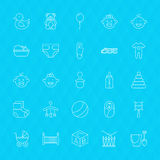 Toys and Baby Line Icons Set over Polygonal Background Royalty Free Stock Images