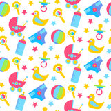 Toys and baby stuff seamless vector pattern Royalty Free Stock Photos