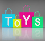 Toys Bags Shows Retail Shopping and Buying. Toys Bags Showing Retail Buying and Shopping stock illustration
