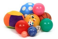 Toys balls. All kind of colored toys balls isolated on white background Royalty Free Stock Photography