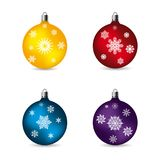 Toys balls for celebratory fur-tree, with patterns of snowflakes Stock Photography