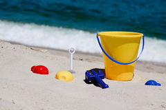Toys on a beach Royalty Free Stock Image