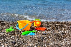 Toys on the beach Stock Images
