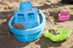 Toys on the beach. Colorful beach toys Stock Photography