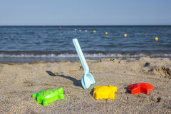 Toys on the beach Royalty Free Stock Photo